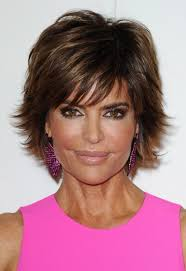 flipped up hairstyles lisa rinna flipped out short razor cut with bangs hairstyles weekly