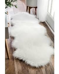 rug runner 2 x 6 amazing deal on nuloom faux flokati sheepskin white shag