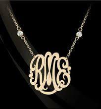 gold monogram necklace gold monogram necklace with cz diamond accent by basch