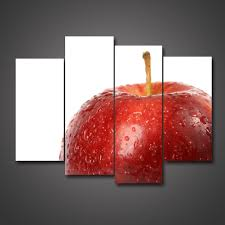 Kitchen Apple Decor by Amazon Com 4 Panel Modern Canvas Print Decoration Big Red Apple