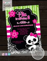 panda party invitation in pink and black with stripes swanky press