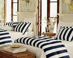 custom nautical duvet bedding set navy blue white stripes