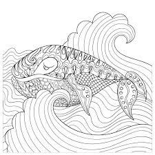 hand drawn whale waves coloring kidspressmagazine
