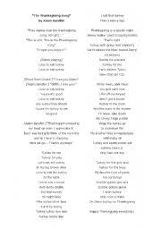 worksheets lyrics to the thanksgiving song by adam sandler