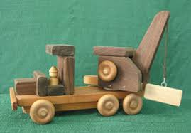 handmade wood toy crane truck from d and me toys