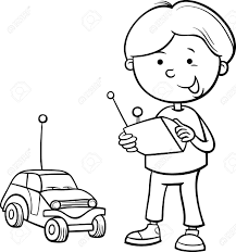cartoon car black and white black and white cartoon illustration of cute boy with remote