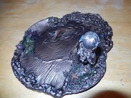 mermaid in pond jewelry plate gorgeous floral art noveau style