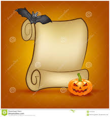 halloween background papers halloween banner card with empty paper scroll and pumpkin bat