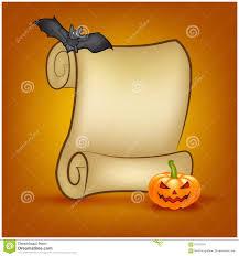 halloween image desktop background halloween banner card with empty paper scroll and pumpkin bat