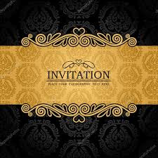 Black Invitation Card Abstract Background With Antique Vintage Frame And Banner Black