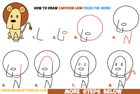 draw cartoon lion word easy step step drawing