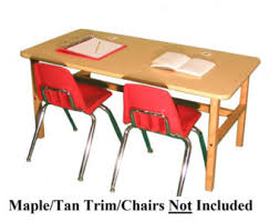 Childs Wooden Desk Childs Wood Computer Desk With Attached Seat For 1 Or 2 Kids