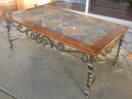 furniture grey and brown tile top rectangle table with wrought