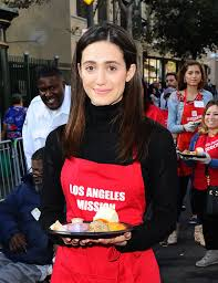 emmy rossum at mission thanksgiving for the homeless in los