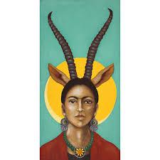 frida kahlo folk art print of acrylic painting mexican