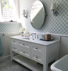 Powder Room Cabinets Vanities Marble Bathroom White Custom Vanity Trellis Wallpaper Aqua