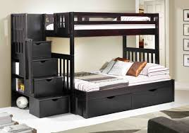 twin over full bunk bed with stairs drawers on beige floor matched