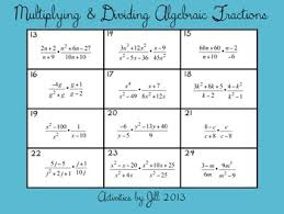 u0026 dividing algebraic fractions rational expressions activity cards