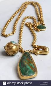 turquoise gold chain necklace images Detail image of long gold chain turquoise pendant and bird jpg