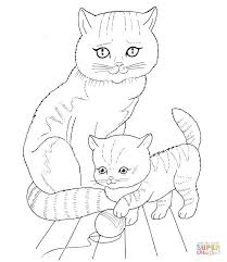 cat mother and kitten coloring page free printable coloring pages