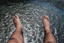 free stock photo of feet hairy hanging
