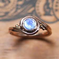 Moonstone Wedding Ring by Rose Gold Moonstone Ring Unique Engagement Ring With Rainbow