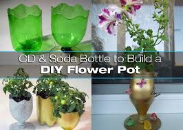 Vase Made From Plastic Bottle Diy Flower Pot Using A Cd And Soda Bottle Diy For Life