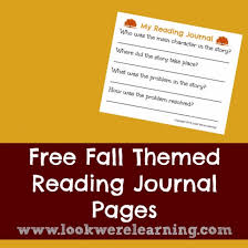 fall reading journal for second grade