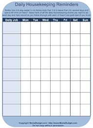 daily housekeeping reminders worksheet printable free worksheet