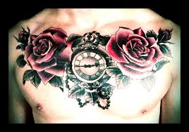 roses rose buds and ornate pocket watch chest piece tattoo on an