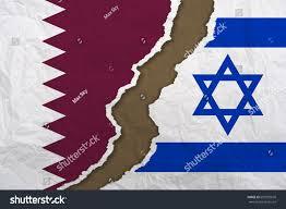 Flag Of Israel Flag Qatar Flag Israel Severance Diplomatic Stock Illustration