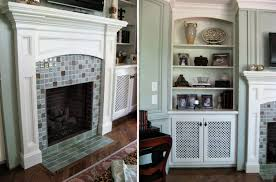 custom fireplace tile surround glazed wall paneling design lines