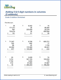 grade 5 addition u0026 subtraction worksheets free u0026 printable k5