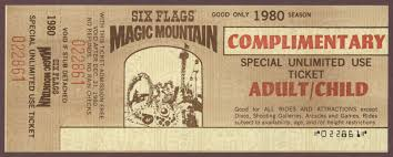 Free Tickets To Six Flags Vintage Disneyland Tickets Magic Mountain Complimentary Ticket 1980