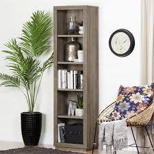 south shore kanji 5 shelf narrow bookcase in weathered oak 10481