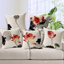 Stag Cushions Chinese Ink Paintings Lotus Flower Culture Art Cushion Covers