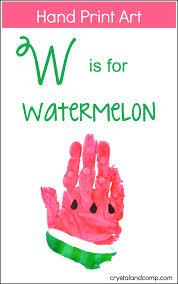 hand print art w is for watermelon alphabet crafts hand print