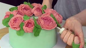 peony buttercream flower wreath cake decorating cake style youtube