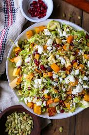 brussel sprout salad with roasted butternut squash the