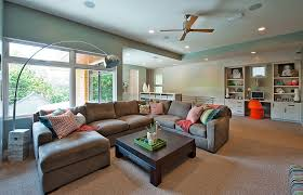 Family Room With Sectional Sofa Microfiber Sectional Family Room Traditional With Brick