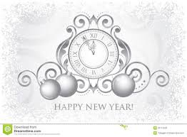 Decoration Happy New Year Happy New Year Card With Clock And Decorations Stock Vector