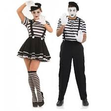 Circus Halloween Costumes Couples Ladies Mens French Mime Artist Theatrical Performer