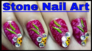 nail art and design with stone easy nail art tutorial at home