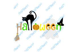 halloween black cat ghost pumpkin witch hat witch broom design