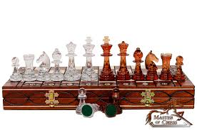 amber decorative chess set 41cm stunning chessboard and unique