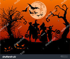 vector halloween halloween background silhouettes children trick treating stock