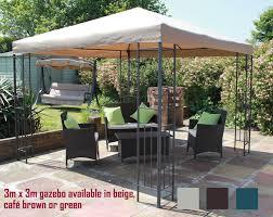 patio gazebo clearance twyford garden party metal frame gazebo 3m x 3m beige green or