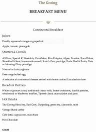 The Dining Room The Goring Menu Zomato UK - Dining room menu