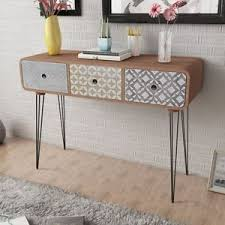 Tables For Hallway Brown Side Cabinet Console Table Hallway 3 Drawer Retro Lounge