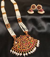 long pearl necklace set images Buy beautiful long pearl temple jewel necklace set online JPG